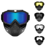 ingrosso protezione delle moto-Occhiali da sole da motocross Occhiali da sole Casco integrale Maschera rimovibile Protezione UV Occhiali da moto Occhiali da sci per moto Halley