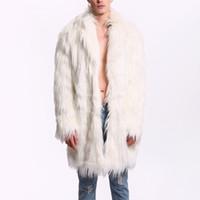 мужской меховой шарф оптовых-Winter Autumn Faux Fur Men Long Jacket Windbreaker Thick Warm Fur Scarf Collar with Pockets Coat Outwear Plus Size 3X 4XL 7F1293