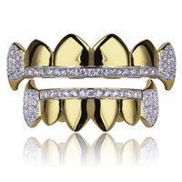 Wholesale Real Skeletons - 18K Real Gold Teeth Grillz Caps Iced Out Top & Bottom Vampire Fangs Dental Grill Set Wholesale