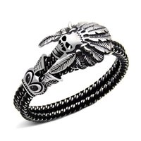 Wholesale leather indian bracelets for men - Fashion Jewelry Double leather Bracelet Casual Personality Rock Punk Titanium steel Skull Bracelet for men Free shipping 2018 new in stock