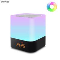 alarme de chevet achat en gros de-DONWEI Rechargeable RGB Nuit Lumière Intérieur Atmosphère Atmosphère Lampe Lampe Support Alarme Réveil Bluetooth Haut-Parleur Musique Fonction de Lecture