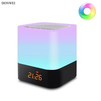 ingrosso sveglia notturna-DONWEI Ricaricabile RGB Night Light Indoor Bedside Atmosphere Lamp Supporto Alarm Clock Bluetooth Speaker Riproduzione di musica Funzione