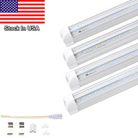 Wholesale Usa Doors - V-Shaped 4ft 5ft 6ft 8ft Cooler Door Led Tubes T8 Integrated Led Tubes Double Sides SMD2835 Led Fluorescent Lights 85-265V Stock In USA