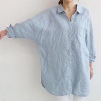 Wholesale Women Blue Blouses - Autumn Spring Cotton linen shirt for women Vintage Cotton linen Loose Long sleeve blouse Blue and White colors