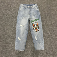 Wholesale fly shows - Europe in spring 2018 fashion show thin waist embroidery dog hole jeans trousers female Haren pants