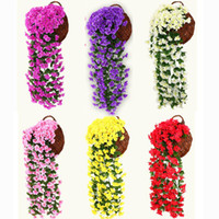 ingrosso artificial plants ivy-31.5inc Artificiale Violet Flower Vine Fiore di seta Violet Ivy Hang Fiore Ghirlanda Wall Hanging Plant Wedding Party Home Garden Decoration