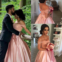 Wholesale bead embroidery wedding dress online - Selling Temperament Noble Wedding Dresses Elegant Lace Off Shoulder Pink Satin Ball Gowns Mopping Long Section Wedding Gowns