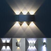 ingrosso luci principali per la decorazione-Moderna applique da parete a LED 2W 4W 6W 8W AC85-265V in alluminio di alta qualità Decorare la camera da letto interna lampada da parete sfondo decorazione luce