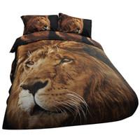 3d bedding set toptan satış-3D Hayvan Yorgan Kapak Aslan Fotografik Baskı Yorgan Yorgan Kapak Yatak Seti Yastık Kılıfı 200x230 cm Lüks Yorgan Kapakları