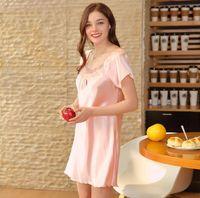Wholesale ladies sexy silk nightgowns - Yao Ting SupplySpinning silk pajamas Lady summer silk home sexy short sleeve nightdress