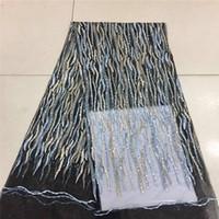 lavanda francesa al por mayor-Telas de red del bordado, tela del cordón de la lentejuela de la lavanda, tela francesa del cordón de la boda