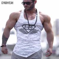Wholesale Gym T Shirts For Men - Wholesale- Gymohyeah Gyms camouflage Tank Top Sleeveless T shirt Vest Fitness Bodybuilding waistcoat Men's Vest Shirt Tee For Man