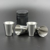 Wholesale Wholesale Wine Bags China - Stainless Steel Wine Glasses 4pcs Set Liquor Mugs Whisky Vodka 1 oz small wine cup Outdoor portability Drinkware With Leather Cover Bag