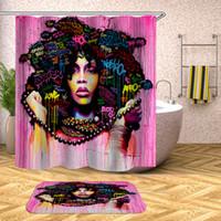 portas de chuveiro de banho venda por atacado-Cortina de chuveiro Toalete Mulher Africano Tecido de Poliéster Pano De Banho Em Casa Decoração Da Porta Do Banheiro À Prova de Água Cortinas Da Janela 36yf bb