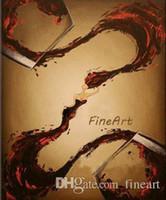 benzersiz modern yağlı boya toptan satış-Tuval üzerine el-boyalı modern şarap cam duvar sanat tuval yağlıboya şarap şişesi dekorasyon tuval sanat dekoratif duvar resimleri benzersiz hediye