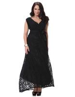 vestido negro peplum talla xl al por mayor-Moda mujer sexy con cuello en v de encaje negro vestidos de fiesta de noche discoteca vestido de talla grande sin mangas ocasional maxi vestidos para mujer