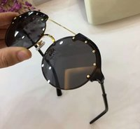 Wholesale gold studs cat resale online - Women VE4337 Black Gold Round Sunglasses mm with studs Designer sun glasses Eyewear Driving Glasses Fashion New in box