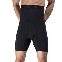 culotte corset noire achat en gros de-Noir Blanc Shaperwear Pour Hommes Taille Haute Contrôle Culotte Tummy Trimmer Corset Body Shaper Boyshort Minceur Sous-Vêtements Body