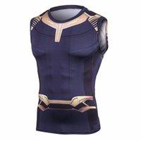 neue cosplay männlich großhandel-Avengers 3 Thanos 3D Gedruckte T-shirts Männer Compression Shirts Cosplay Kostüm 2018 Sommer NEUE Crossfit Tops Für Männer Kleidung