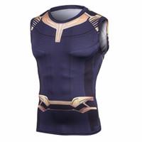 novo cosplay masculino venda por atacado-Vingadores 3 Thanos 3D Impresso camisetas Homens Camisas De Compressão Cosplay Traje 2018 NOVA NOVA Crossfit Tops Para Roupas Masculinas