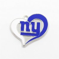Wholesale enameled jewelry resale online - 12pcs white blue enameled newest New charm accessories football jewelry Heart Shape Pendant