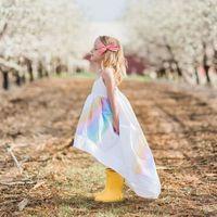 vestido de princesa niña única al por mayor-Verano Europeo Moda Bebé Niña Único Frente Corto Vestido Largo Trasero Niña Princesa Rainbow Vestidos de Honda