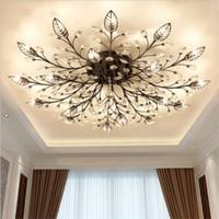 chandelier encastré salon achat en gros de-Moderne K9 Cristal LED Plafonnier Plafonnier Lustre Luminaires Luminaire Or Noir Maison Lampes pour Salon Chambre Cuisine