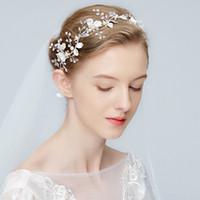 Wholesale wedding floral tiara - Silver Floral Headpiece Bridal Headband Tiara Wedding Pearls Hair Crown Jewelry Women Fashion Headpiece Accessories