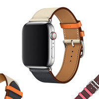 Wholesale Genuine Leather Strap MM MM MM MM Replacement Band Watchband with Stainless Metal Clasp for IWatch Apple Watch Series