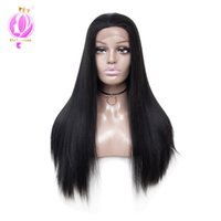 Wholesale long straight synthetic wigs online - Brazilian straight hair wigs inch Long Straight Synthetic Lace Front Wigs For Women Natural Looking Hair Wigs