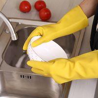 Wholesale Household Gloves Dishwashing - Long Sleeve Rubber Gloves Kitchen Antiskid Waterproof Household Handguard Warm Dishwashing Tool Cleaning Latex Rubber Gloves