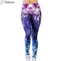 Wholesale Stretch Leggins - HIRIGIN Brand Leggings Women Mandala Mint Print Fitness legging High Elasticity Leggins Legins Stretch Trouser Pants for women