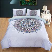 yorgan örtüsü mavi set toptan satış-Toptan Bohemian yatak takımları kraliçe boyutu Ile Hindistan mavi Mandala nevresim Yastık Kılıfı Yatak Set Güzel Yatak Örtüsü