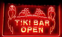 néon tiki bar sinal luz venda por atacado-LS017-r OPEN Bar Tiki NOVO Exibe Pub Luz Neon Sinais Decoração Frete Grátis Dropshipping Atacado 8 cores para escolher