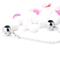 europa-perlen-art und weisearmband großhandel-Mode 925 Sterling Silber Perle Bogen Sicherheitskette mit stapelbaren Herzen auf Oberfläche Perlen Fit Europa Armband Armreif Schmuck