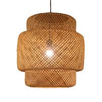 lustres en bambou achat en gros de-New Bamboo Pendant Light Lanterne Moderne Lustre Plafonnier Luminaire Simple Salon Étude Hôtel maison éclairage G073
