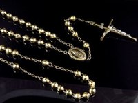 Wholesale Cut Diamond Necklace - 10K Yellow Gold Diamond Cut Beads 6 MM Rosary Necklace Chain 26+6 Inches
