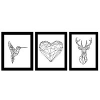 Wholesale Simple Abstract Paintings Canvas - Nordic! Pecker Reindeer Love Unframed Fashionable Simple Style Inkjet Oil Canvas Painting Ink Painting Poster Wall Art 3 Types