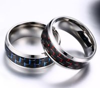 Wholesale carbon rings for men - Wedding Ring 8mm 316L Stainless Steel Ring with Blue Red Carbon fiber for men and woman Size 7-12 Hot Sale!