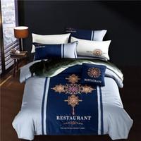 capas de edredon de seda chinesa venda por atacado-Clássico chinês estilo Escuro azul conjuntos de cama flores lençóis bordados de seda de fibra de bambu Queen size king size capa de edredon lençol