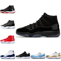Wholesale mens cap sizes - Prom Night Mens 11 basketball shoes Cap and Gown 11s 2018 Designer Iridescent UNC Gym Red 45 Concord Women Sport Sneakers Size 5-13