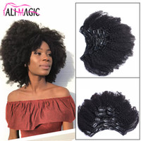 Wholesale european clip curly hair - Ali Magic 2018 New Mongolian Afro Kinky Curly Clip In Hair Extensions 4B 4C 100% Natural Human Hair Extensions 100g 120g 7Pcs