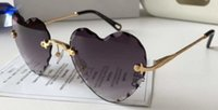 Wholesale heart sunglasses online - Sunglasses women Deisnger heart frame Uv400 black summer style designer big face matching box