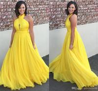parlak sarı akşam elbiseleri toptan satış-Parlak sarı şifon uzun gelinlik modelleri 2019 halter keyhole aç geri gelinlik modelleri seksi kokteyl parti elbiseleri abiye giyim