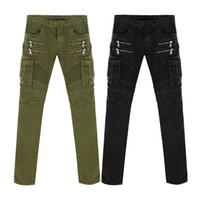ingrosso uomini di moda neri jeans verde-Jeans da motociclista in denim nero verde jeans da uomo slim skinny jeans elastici hiphop lavato nuovo modo caldo