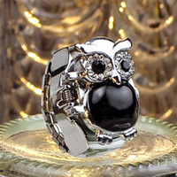 Wholesale ladies acrylic rings - 2018 Hot Sale, New Arrival Creative Women Fashion Watch Lady Girl Steel Quartz Finger Ring with-watch Retro Owl Finger Watch