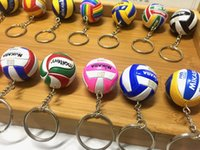 Wholesale 2Pcs Mini PVC Volleyball Keychain Sport Key Chain Gift Car Ball Key Holder Ring For Sports Team For Mens Womens Keyring