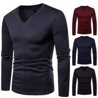 Wholesale long sleeved polos resale online - High Quality Mens shirts New Brand Shirt Fashion Simple Solid Color Long Sleeved T Shirt Casual Polos Casual Slim Shirts for Men Top Tees
