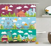 Wholesale swing slides resale online - Shower Curtains City Banners with Carousels Slides and Swings Ferris Wheel Attraction Image Polyester Bathroom Decor Set