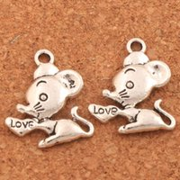 Wholesale mouse love - 200pcs lot Love Heart Mouse Mice Spacer Charm Beads 16x19.6mm Antique Silver Pendants Jewelry DIY L183